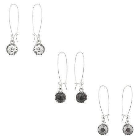Multi Stone Dangle - Lux Accessories Silver Tone Circle Stone Wire Dangle Multi Earring Set (3pc)