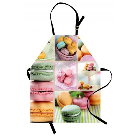 Colorful Apron Traditional French Desert Macaroons Themed Collage with Coffee Gourmet Sweet Print, Unisex Kitchen Bib Apron with Adjustable Neck for Cooking Baking Gardening, Multicolor, by Ambesonne - Desert Theme