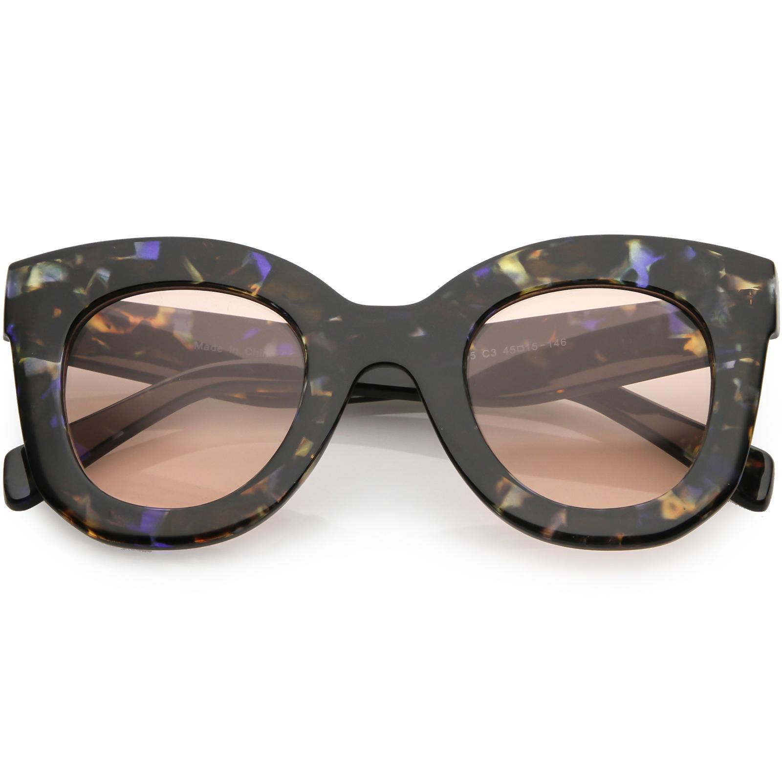sunglassLA - Women's Oversize Chunky Cat Eye Sunglasses Round Lens 46mm - 46mm