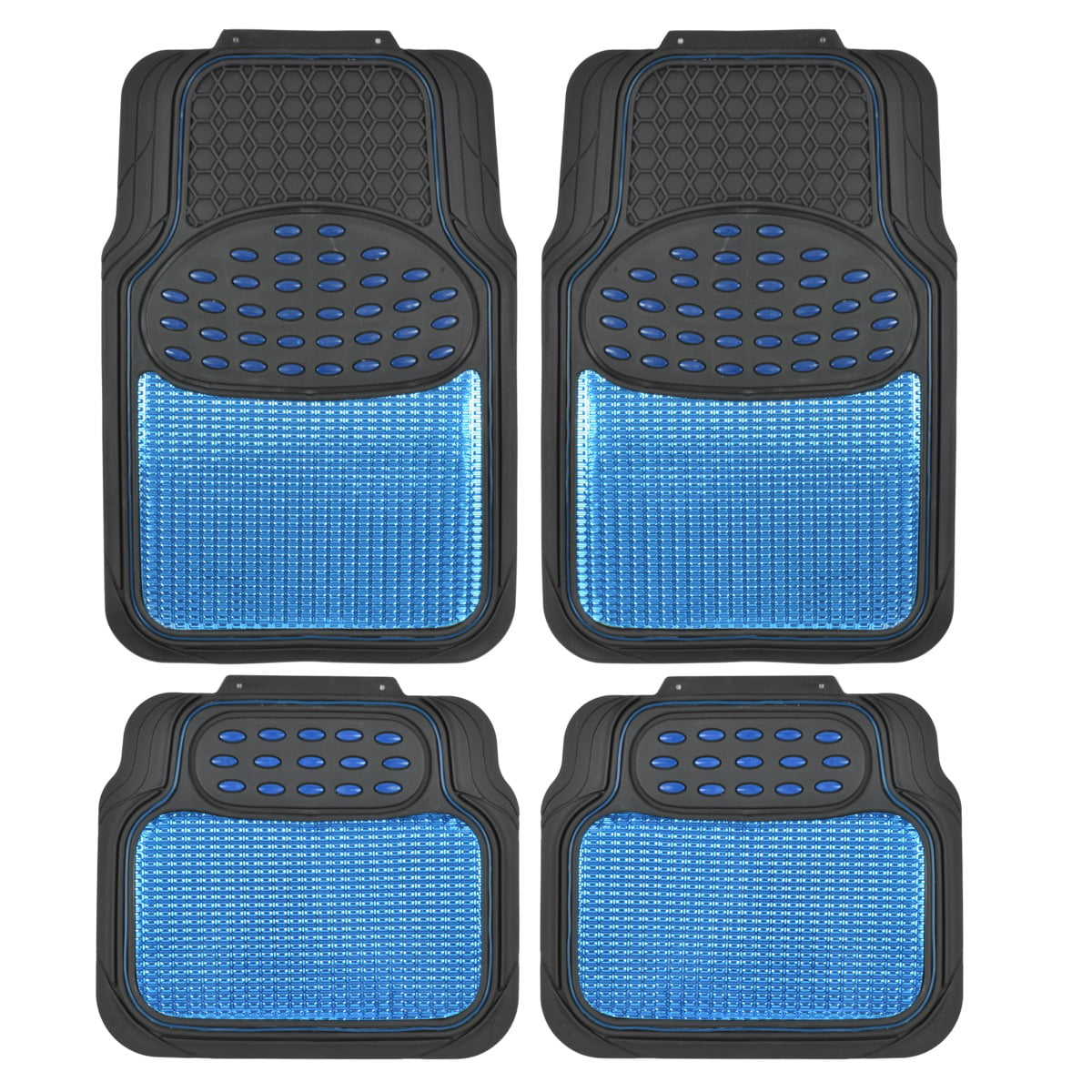 Gray BDK MT-654-GR Heavy Duty 4pc Front and Rear Rubber Floor Mats for Car SUV Van and Truck All Weather Protection Universal Fit