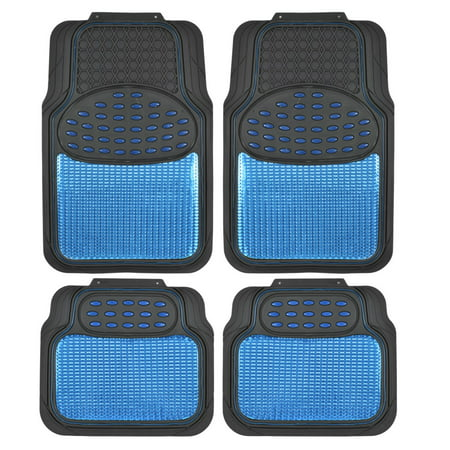 BDK Real Heavy-Duty Metallic Rubber Mats for Car SUV and Truck, All-Weather Protection,