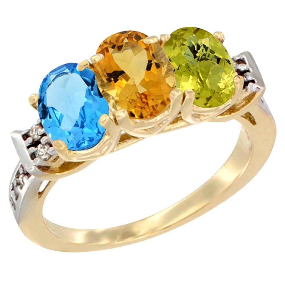 10K Yellow Gold Natural Swiss Blue Topaz, Citrine & Lemon Quartz Ring 3-Stone Oval 7x5 mm Diamond Accent, sizes 5 10 by WorldJewels