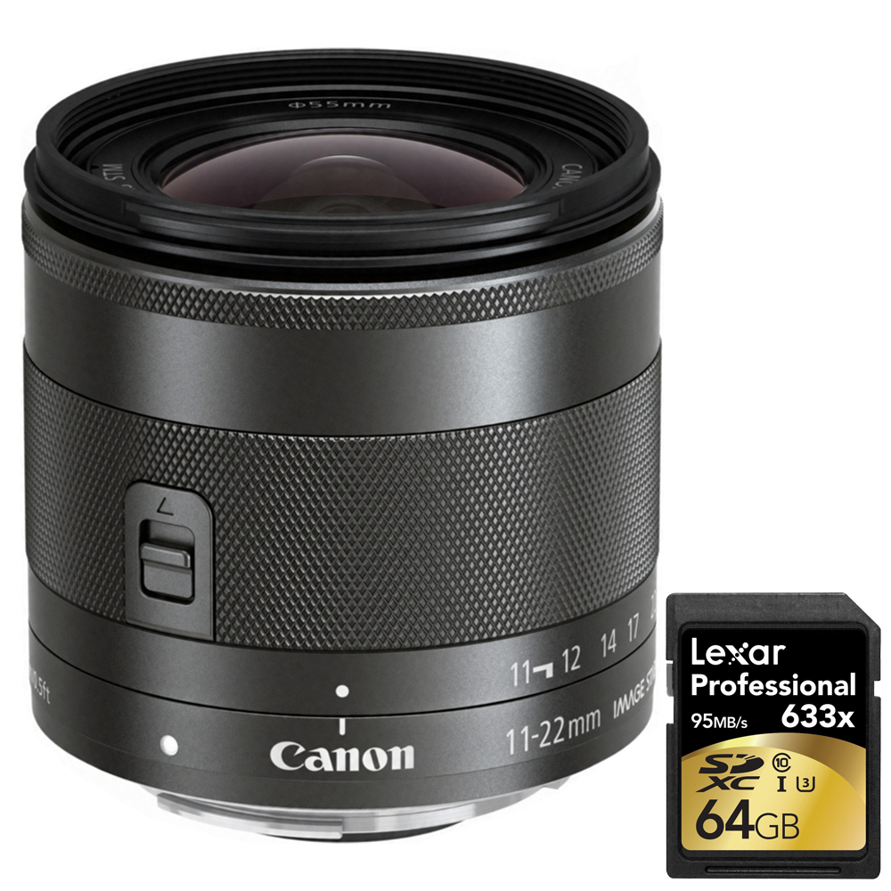 Canon Wide Angle EF-M 11-22mm f 4-5.6 IS STM Lens (7568B002) with Lexar 64GB Professional 633x SDXC Class 10 UHS-I U3... by Canon