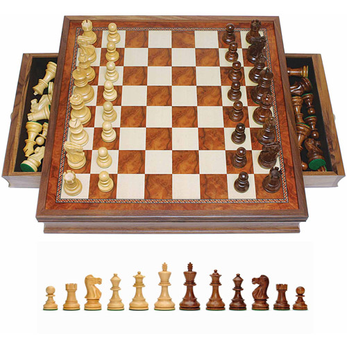 Grand English Style Chess Set with Storage Drawers, Pieces are Tournament Sized and Hand Carved with Camphor Wood Board,... by Generic