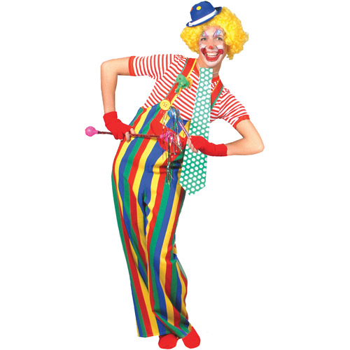 Striped Clown Overalls Adult Halloween Costume - One Size