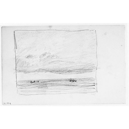 "Three Boats on Water (Long Island Sound) (from Sketchbook) Poster Print by Henry Ward Ranger (American Syracuse New York 1858  ""1916 New York) (18 x"