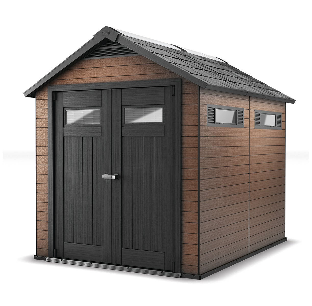 Keter Fusion 7.5 x 9 Outdoor Wood Plastic Composite Large Storage Shed, Mahogany