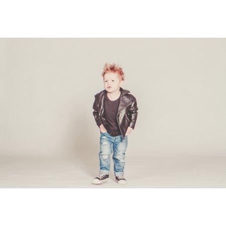 Canvas Print Model Leather Jacket Rock Boy Punk Baby Perfecto Stretched Canvas 10 x 14](Punk Rock Decor)