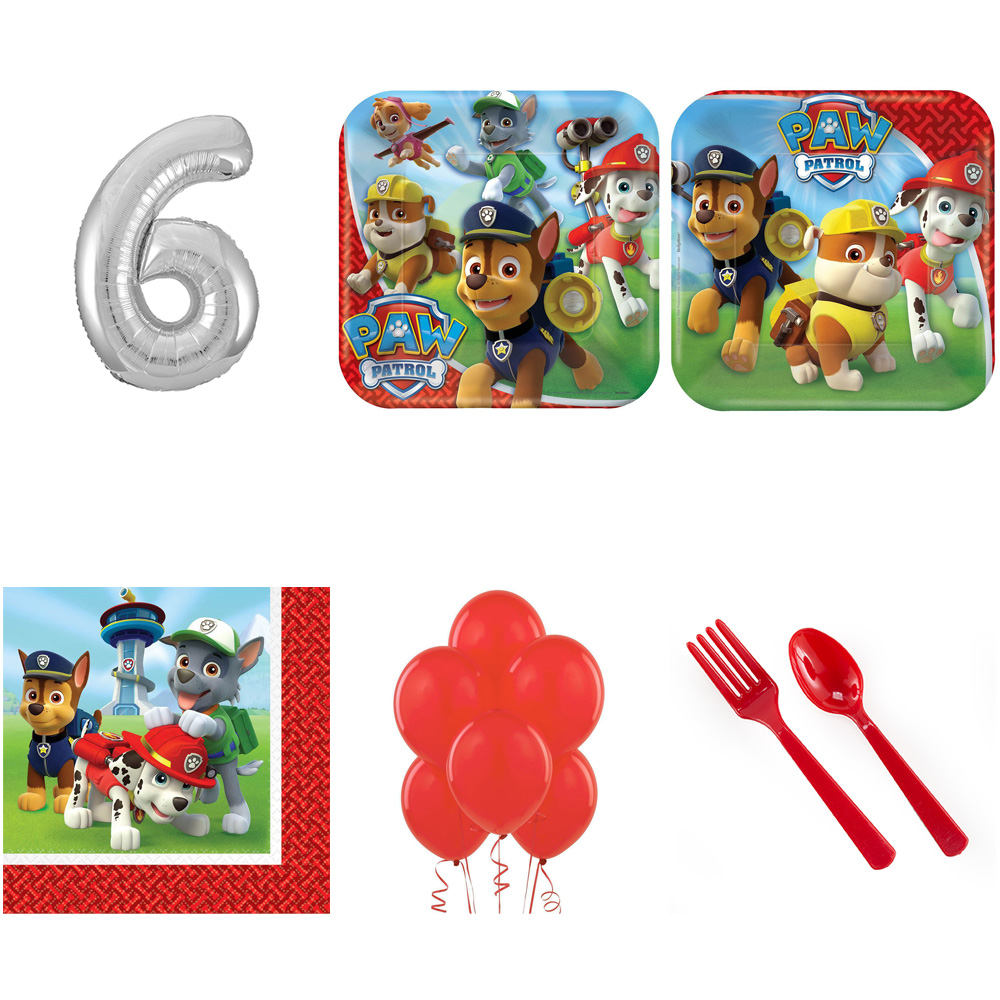PAW PATROL PARTY SUPPLIES PARTY PACK FOR 32 WITH SILVER #6 BALLOON