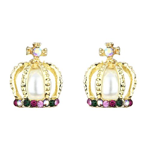 Imitation Pearl Princess Crown Stud Earrings