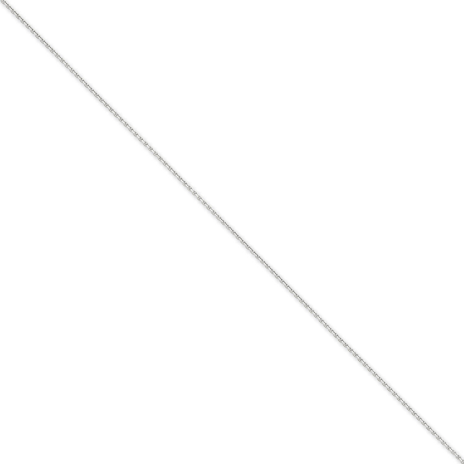 14kt White Gold 1.3mm Solid Diamond-Cut Cable Chain by Generic