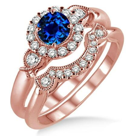 1.25 Carat Sapphire and Diamond Antique Three Stone Flower Halo Bridal Set on 10k Rose