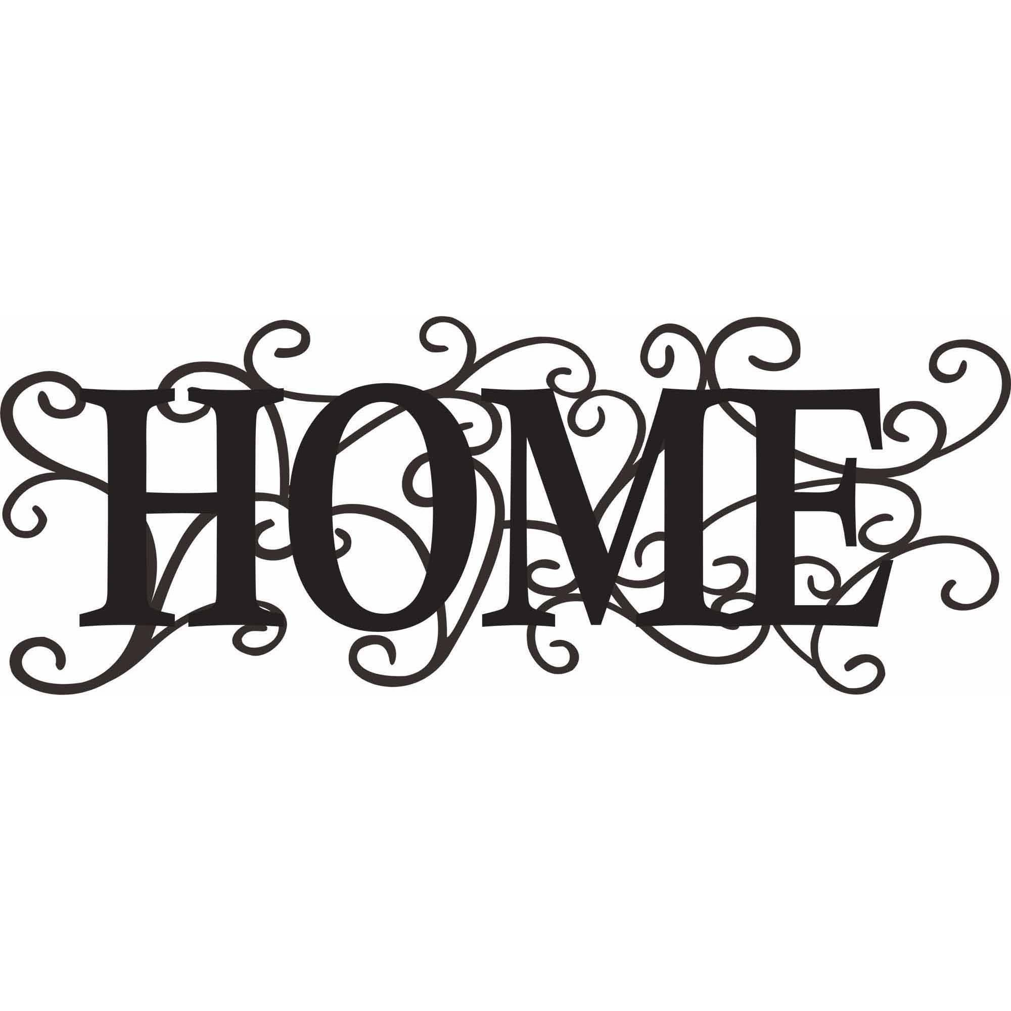 "Intricate Metal ""Home"" Decor Wall Art"