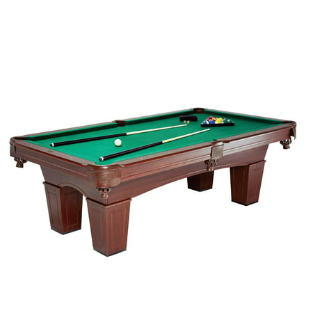MD Sports Crestmont 8 ft Billiard Pool Table, Includes billiard balls, two cue sticks, triangle rack, two chalk and brush, Brown/Green 8' Licensed Pool Table