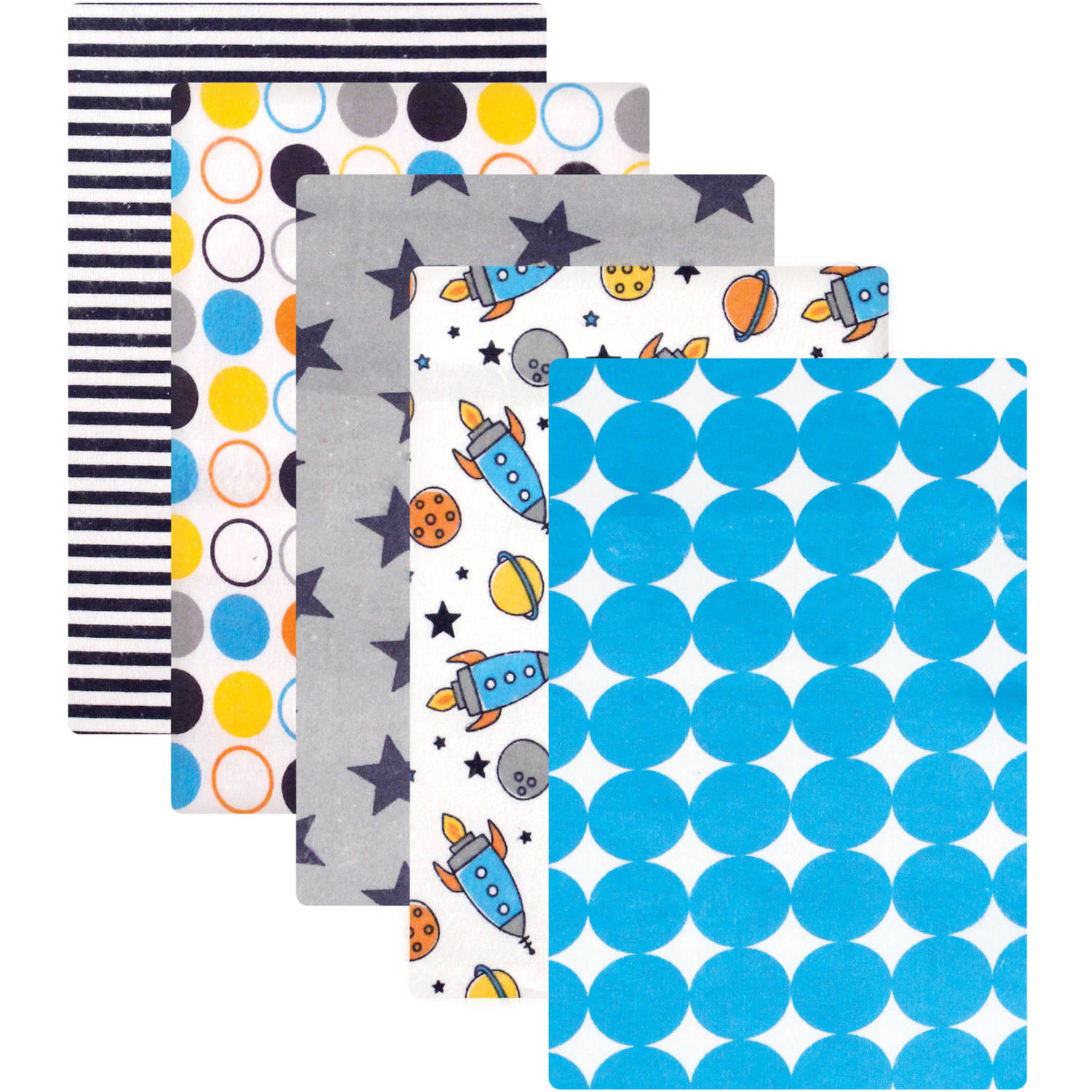 Luvable Friends Receiving Blankets Flannel, 5pk, Rocket Ship