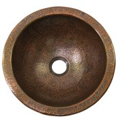 The Copper Factory Metal Circular Undermount Bathroom Sink with Overflow