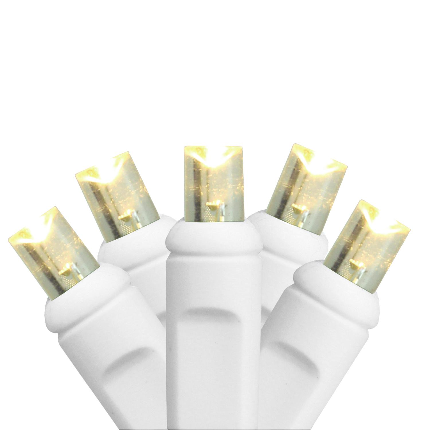 HUB 100ct Warm White LED Wide Angle Christmas Light Set For Light Curtain White Wire