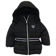 pink platinum baby girls' infant puffer jacket with novelty trim at waist, black, 24 months