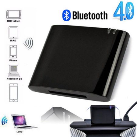 Wireless Bluetooth Adapter Stereo Bluetooth 4.1 Music Receiver Audio Adapter for iPhone iPod 30 Pin Dock Speaker ()