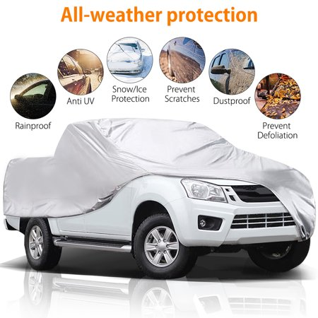 Audew Car Truck Cover, All Weather Car Cover for Pickup Truck, Waterproof Windproof Dustproof UV Protection Universal Car Covers for Truck