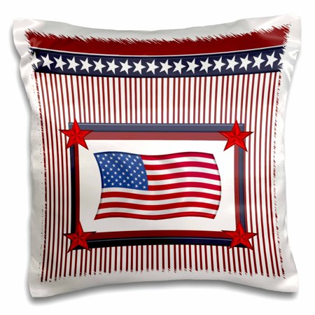 3dRose American Flag in Frame of Stars and Stripes, Red, White, and Blue - Pillow Case, 16 by 16-inch (Red White And Blue Star)