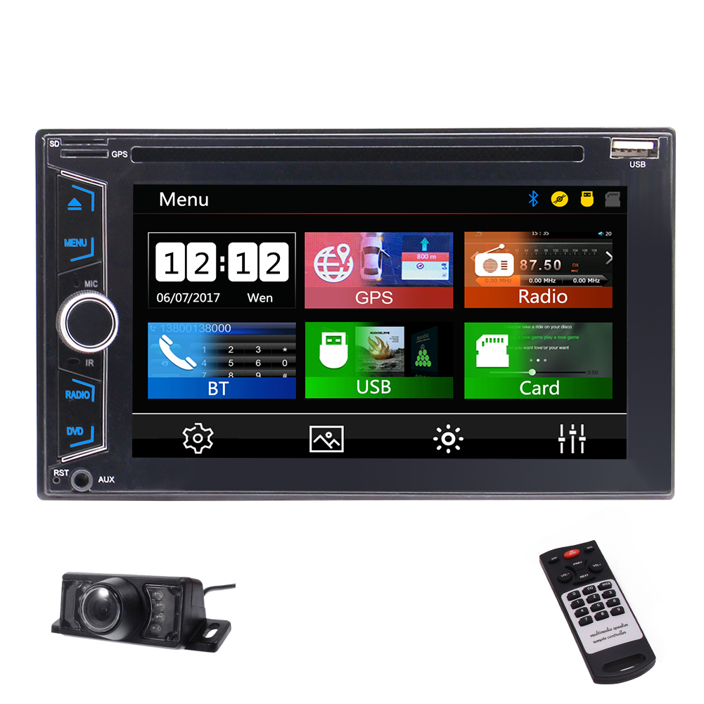 "2018 Eincar Double DIN Car Stereo Multimedia DVD Receiver with 6.2"" WVGA Display/GPS/DVD/Android Auto/Built-in Bluetooth/RDS Radio/Remote Control + Rear View Camera"