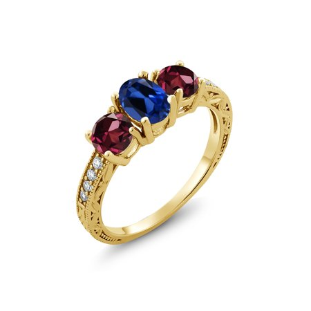 2.32 Ct Blue Simulated Sapphire Red Rhodolite Garnet 18K Yellow Gold Plated Silver Ring