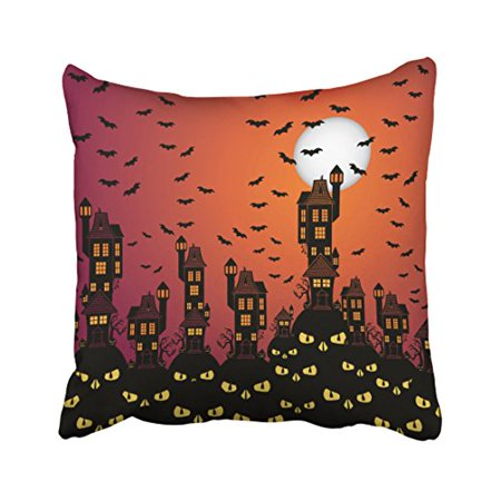 WinHome Decorative Pillowcases Halloween Haunted Village Throw Pillow Covers Cases Cushion Cover Case Sofa 18x18 Inches Two - Halloween Party Village Market