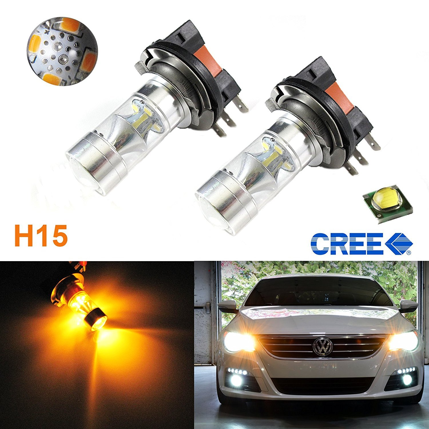 Xotic Tech 1 Pair Super Bright White 100W High Power CREE H15 LED Bulbs For VW Audi BMW Mercedes DRL Lamps
