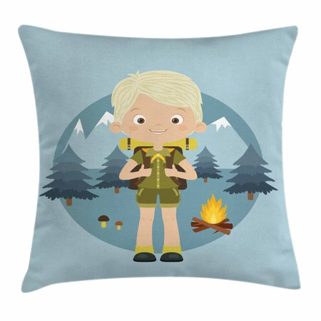 Explore Throw Pillow Cushion Cover, Cartoon Boy Scout in the Forest with Mountains Trees Mushroom and Campfire Design, Decorative Square Accent Pillow Case, 18 X 18 Inches, Multicolor, by