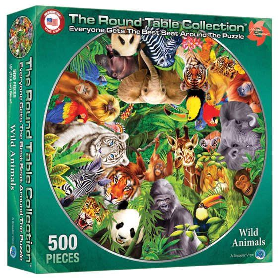 A Broader View's Round Table Puzzle - Wild Animals by Michael Searle  (500-piece)