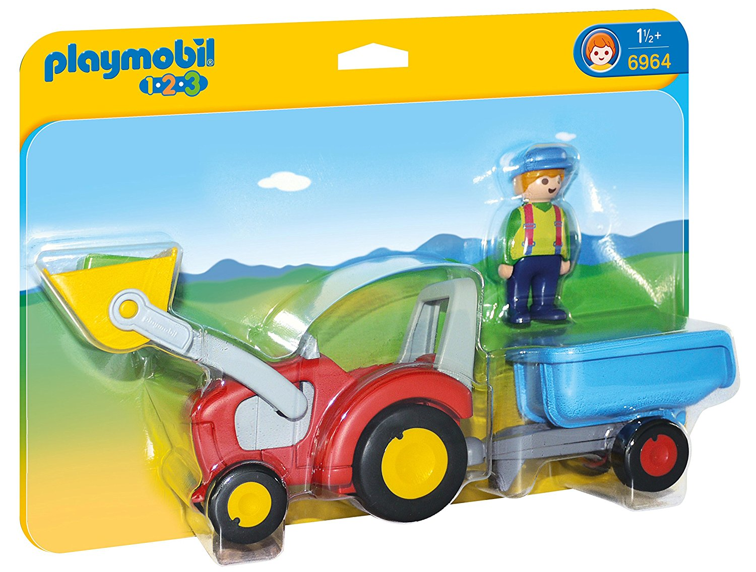 Tractor with Trailer, Clean up around the farm with the Tractor with Trailer By PLAYMOBIL by