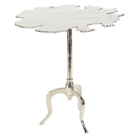 Decmode Modern Aluminum Irregular-Shaped Silver Side Table, Silver