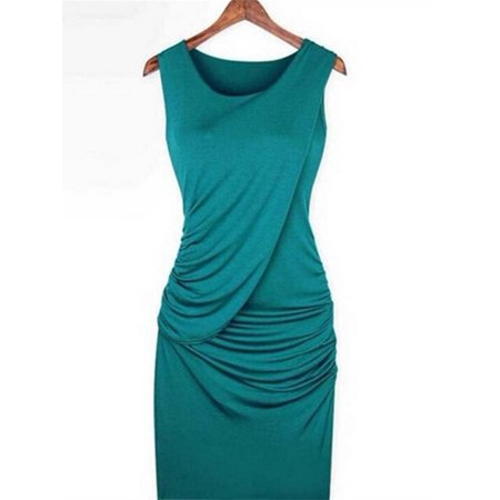 Sleeveless Lady Solid Slim Fit Party Bodycon Dress
