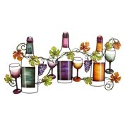 Decmode - 19 X 36 Inch Traditional Wine and Grapevine Iron Wall Decor
