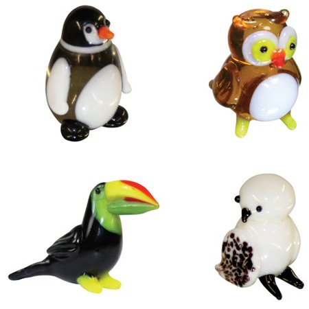 BrainStorm Looking Glass Miniature Glass Figurines, 4-Pack, Penguin/Owl/Toucan/Snow - Miniature Owl