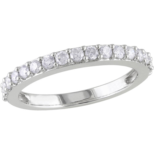 Miabella 1/2 Carat T.W. Single-Row Diamond Anniversary Ring in 10kt White Gold