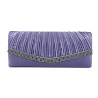 Chicastic Black Pleated Satin Wedding Evening Bridal Clutch Purse With Rhinestones