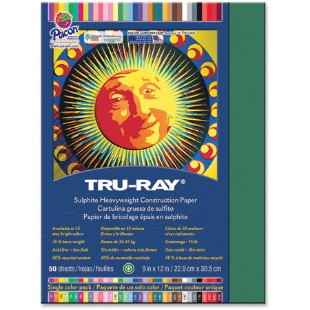 Tru-Ray Sulphite Construction Paper, Pack of 50, Dark Green (Halloween Construction Paper Projects)