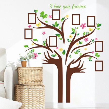 Large Family Tree Wall Decal Peel & Stick Vinyl Sheet for Home, Bedroom Stencil Decoration,DIY Photo Gallery Frame Decor Sticker Easy to Install & Apply Decor Mural