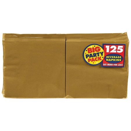 Amscan Gold Big Party Pack - Beverage Napkins (125)](Napkins Wholesale)