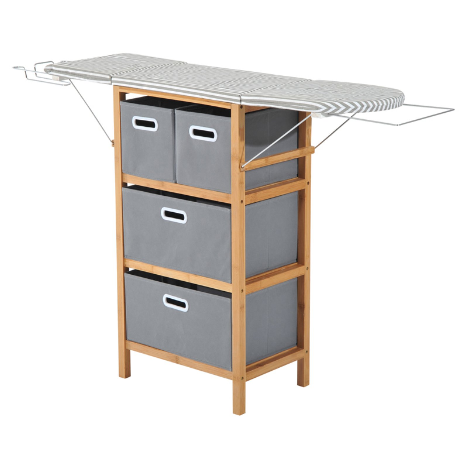 HomCom Collapsible Ironing Board Shelving Unit with Storage Boxes