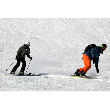 Canvas Print Skier Skiing Sport Alpine Winter Ski Snowboarding Stretched Canvas 10 x (Alpine Steel Skis)