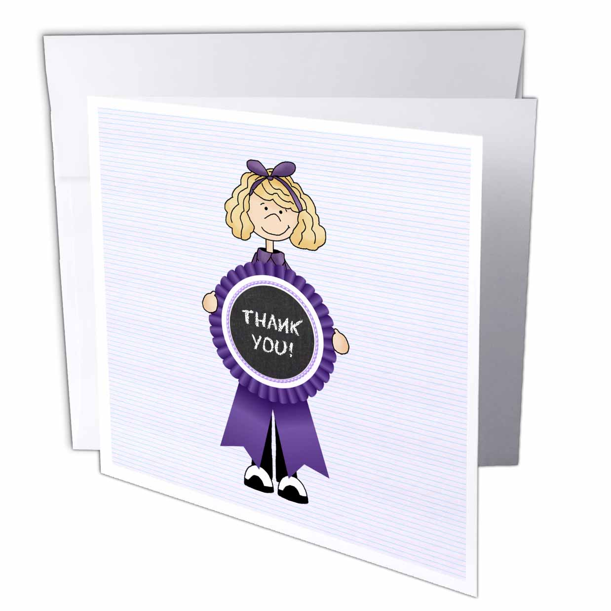 3dRose Little Blonde Girl with Purple THANK YOU Ribbon, Greeting Cards, 6 x 6 inches, set of 12
