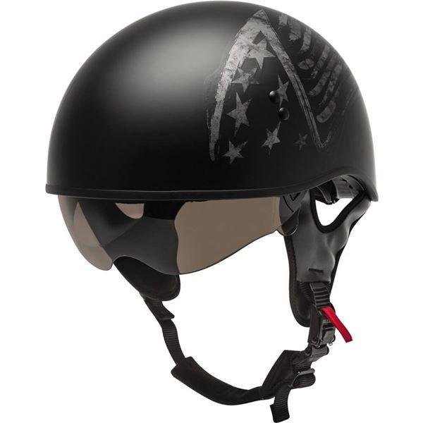 GMAX HH-65 Naked Torque Flat Black/Silver Half Helmet