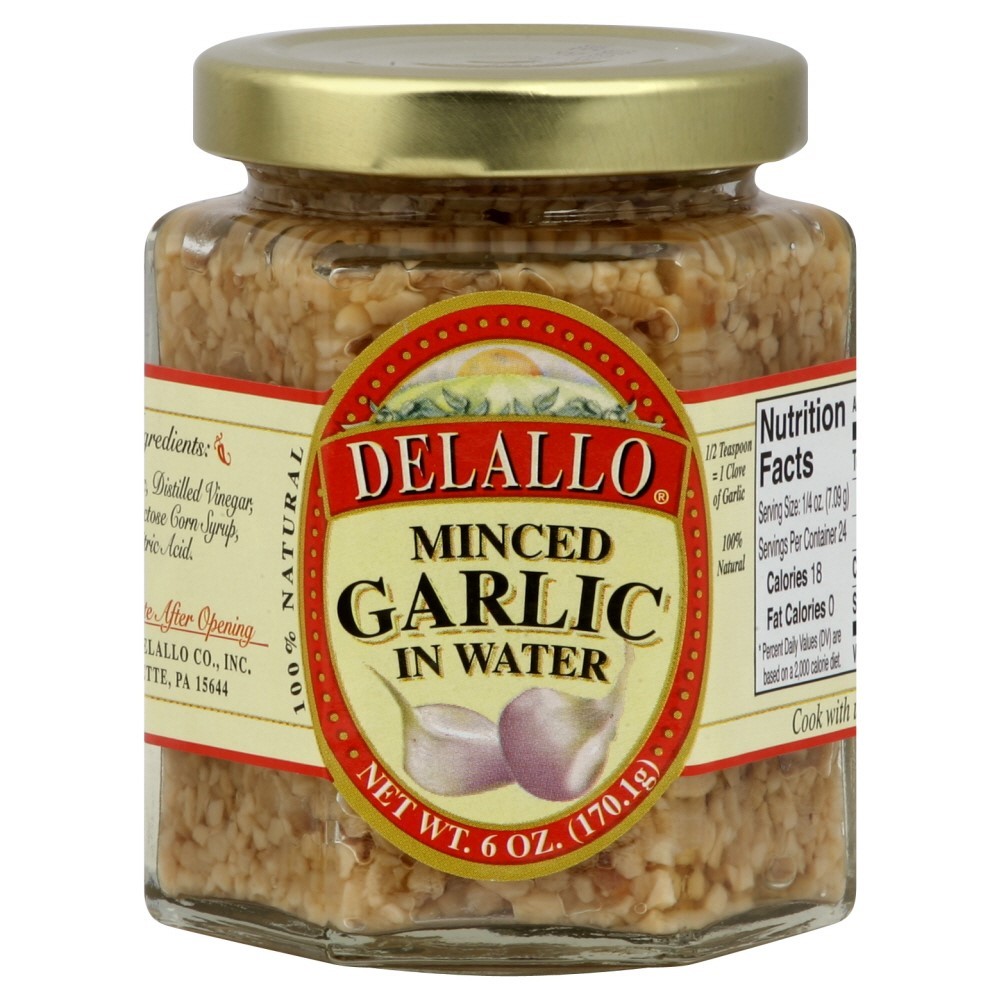 Delallo Minced Garlic, in Water, 6 Oz