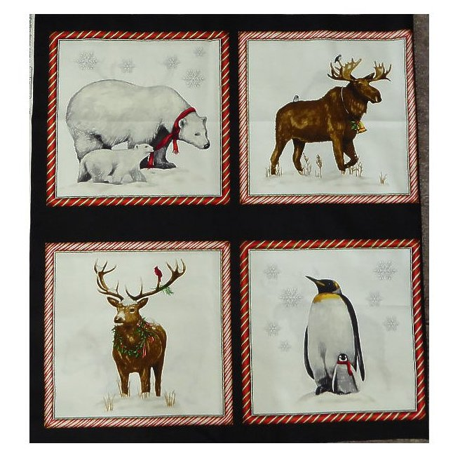 """Winter Animals Panel~24"""" x 44""""~8 Squares~Cotton Fabric by David Textiles"""