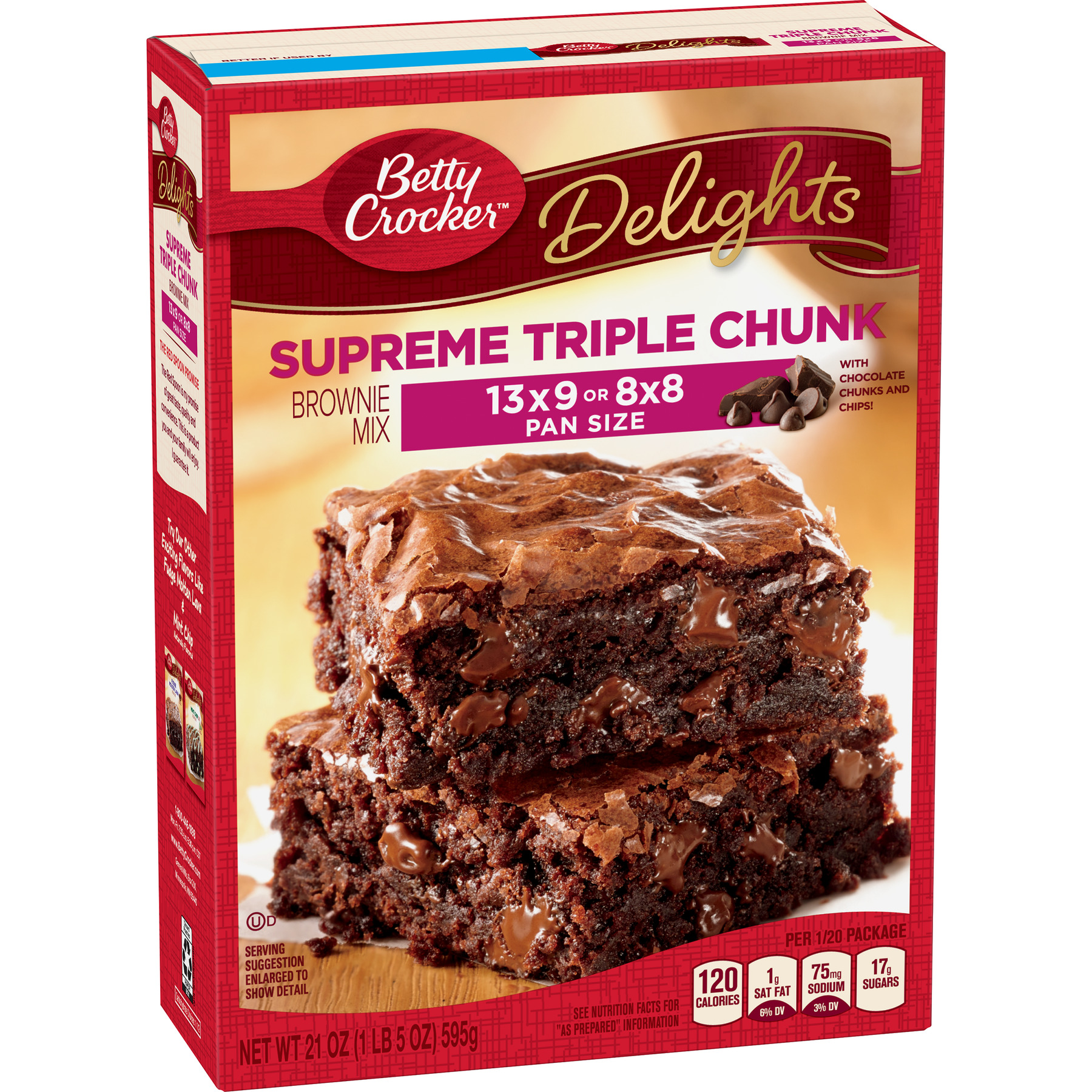 Betty Crocker Delights Triple Chunk Supreme Brownie Mix, 21 oz