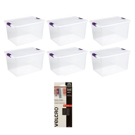 Image of Sterilite 66 Quart Plastic Storage Container Tote (6 Pack) with Velcro Strips