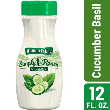 (3 Pack) Hidden Valley Simply Ranch Cucumber Basil Salad Dressing & Topping, Gluten Free - 12 oz (Fat Free Salsa)